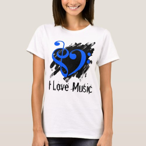 Treble and Bass Clef Royal Blue Heart Over Grunge I Love Music Bassist T-Shirt
