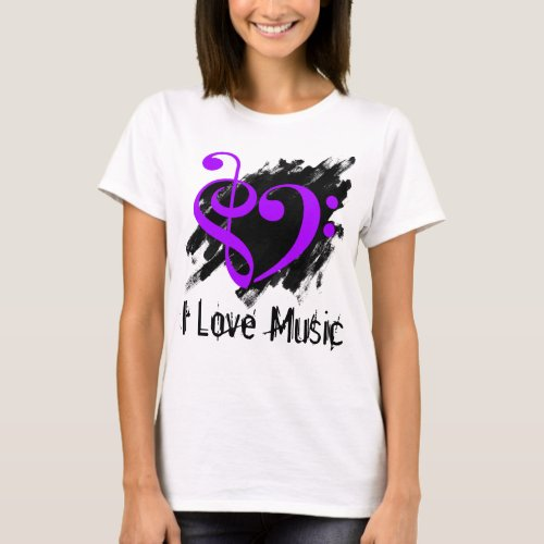 Treble and Bass Clef Royal Purple Heart Over Grunge I Love Music Bassist T-Shirt