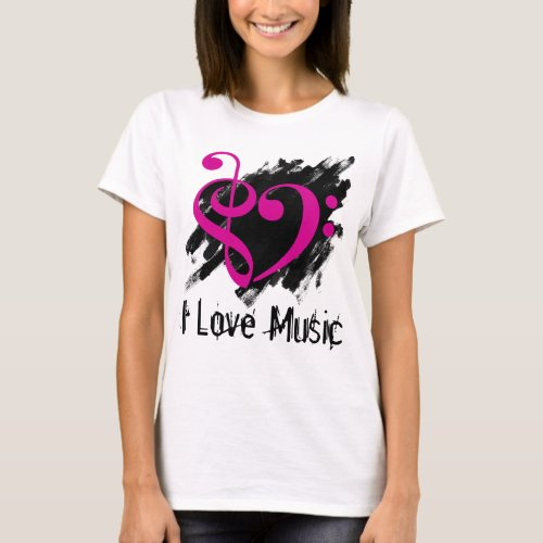 Treble and Bass Clef Pink Fuchsia Heart Over Grunge I Love Music Bassist T-Shirt