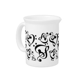 Treble Clef Bass Clef Heart Music Notes Pitcher