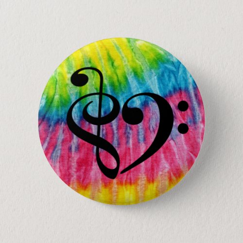 Treble Clef Bass Clef Heart Rainbow Tie-Dye Retro Standard Round Button