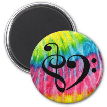 Treble Clef Bass Clef Heart Rainbow Tie-Dye Retro Magnet