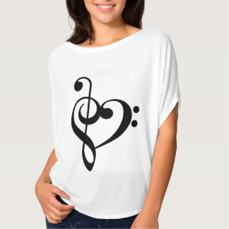 Treble Clef & Bass Clef Heart T-Shirt