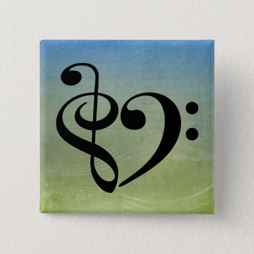 Treble Clef Bass Clef Heart Blue Green Vintage Sheet Music 2-inch Square Button