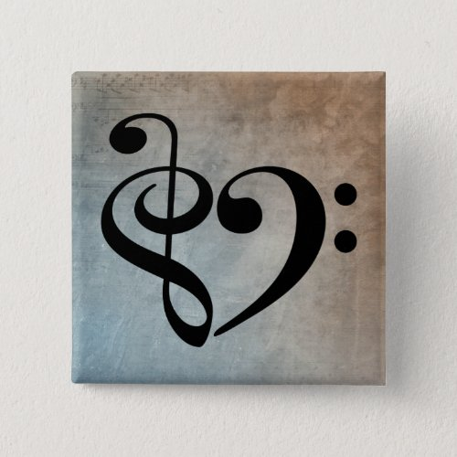 Treble Clef Bass Clef Heart Vintage Blue Brown Sheet Music 2-inch Square Button