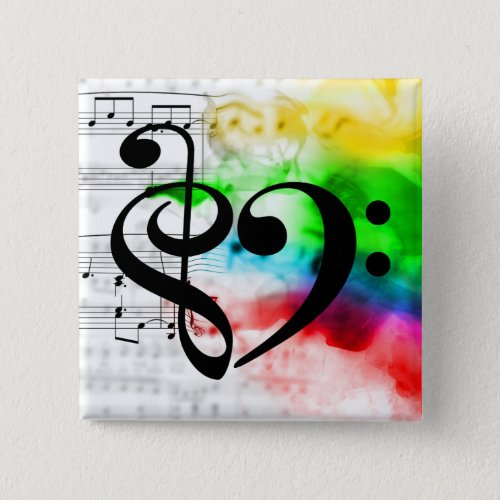 Treble Clef Bass Clef Heart Rainbow Watercolor Sheet Music 2-inch Square Button