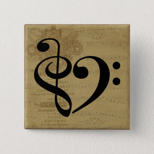 Treble Clef Bass Clef Heart Vintage Sheet Music 2-inch Square Button