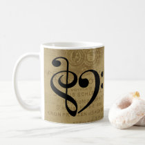 Treble Clef Bass Clef Heart Vintage Sheet Music Coffee Mug