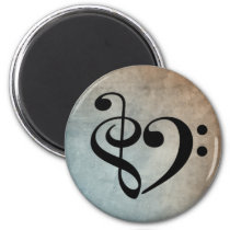 Treble Clef Bass Clef Heart Vintage Sheet Music Magnet