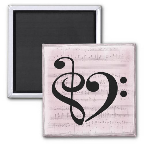 Treble Clef Bass Clef Heart Vintage Sheet Music 2-inch Square Magnet