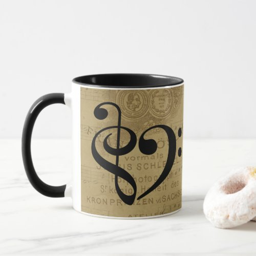 Treble Clef Bass Clef Heart Vintage Sheet Music