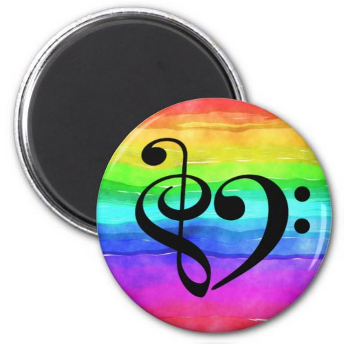 Treble Clef Bass Clef Heart Watercolor Rainbow Round Magnet