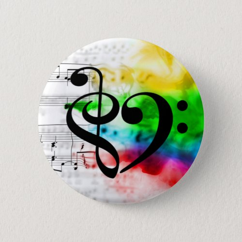Treble Clef Bass Clef Heart Watercolor Sheet Music Standard Round Button