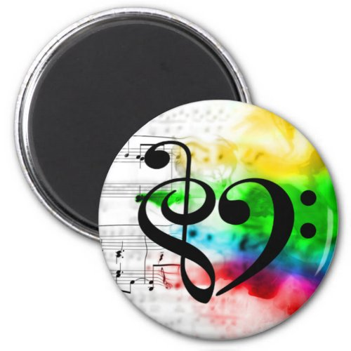 Treble Clef Bass Clef Heart Watercolor Sheet Music Round Magnet