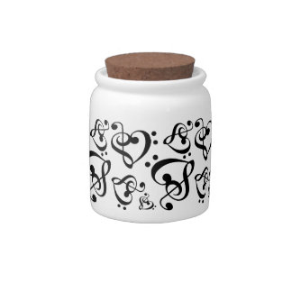 Treble Clef Bass Clef Hearts Music Candy Jar