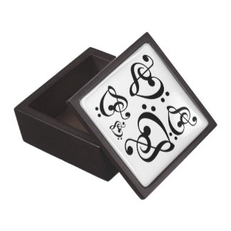 Treble Clef Bass Clef Hearts Music Notes Gift Box