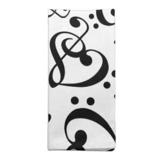 Treble Clef Bass Clef Hearts Music Pattern Napkins