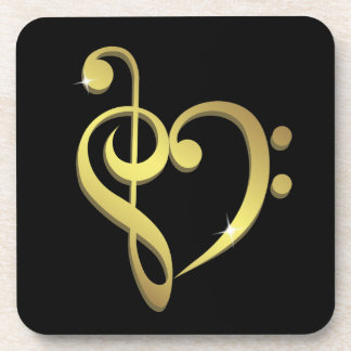 Treble clef, bass clef music heart love drink coaster