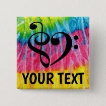 Treble Clef Bass Clef Music Heart Personalized Button