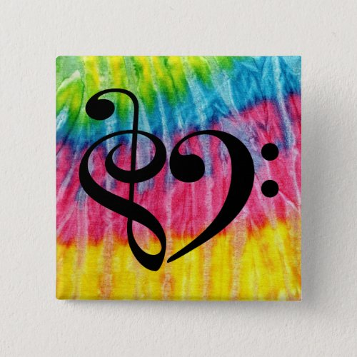 Treble Clef Bass Clef Music Heart Rainbow Tie-Dye 2-inch Square Button