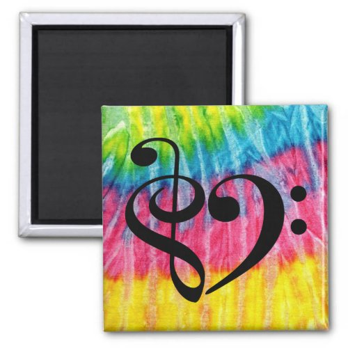 Treble Clef Bass Clef Music Heart Rainbow Tie-Dye 2-inch Square Magnet