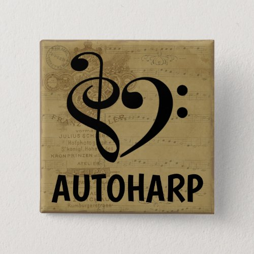 Treble Clef Bass Clef Musical Heart Autoharp Sheet Music 2-inch Square Button