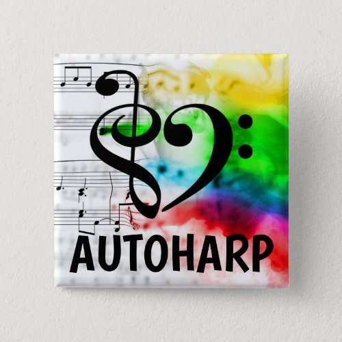 Treble Clef Bass Clef Musical Heart Autoharp Music Lover 2-inch Square Button