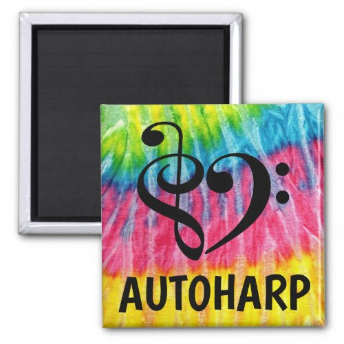 Treble Clef Bass Clef Musical Heart Autoharp Music Lover 2-inch Square Magnet
