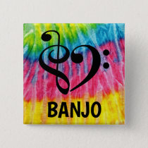 Treble Clef Bass Clef Musical Heart Banjo Button