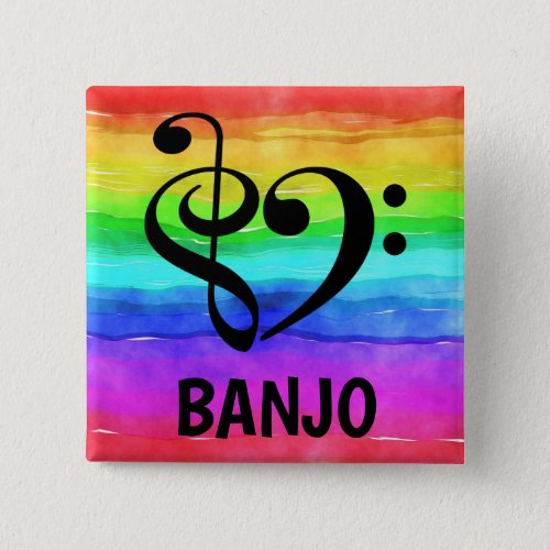 Treble Clef Bass Clef Musical Heart Banjo Music Lover 2-inch Square Button