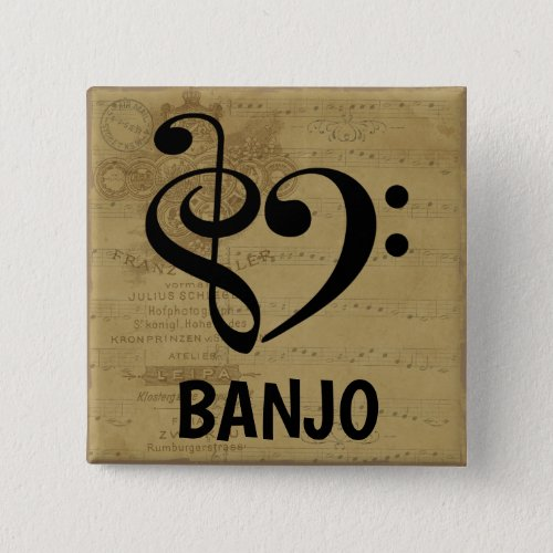 Treble Clef Bass Clef Musical Heart Banjo Sheet Music 2-inch Square Button