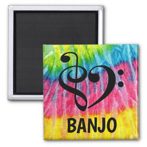 Treble Clef Bass Clef Musical Heart Banjo Music Lover 2-inch Square Magnet
