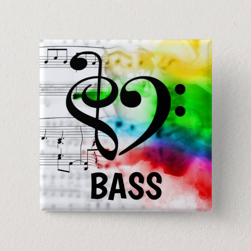 Treble Clef Bass Clef Musical Heart Bassist Music Lover 2-inch Square Button
