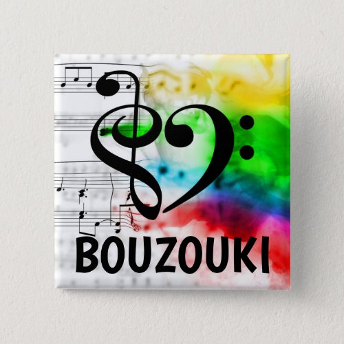 Treble Clef Bass Clef Musical Heart Bouzouki Music Lover 2-inch Square Button
