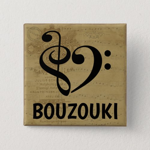 Treble Clef Bass Clef Musical Heart Bouzouki Sheet Music 2-inch Square Button