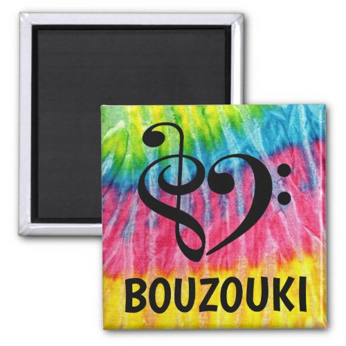 Treble Clef Bass Clef Musical Heart Bouzouki Music Lover 2-inch Square Magnet