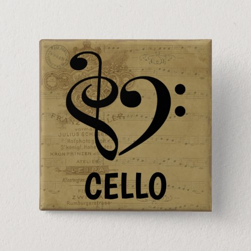 Treble Clef Bass Clef Musical Heart Cello Sheet Music 2-inch Square Button