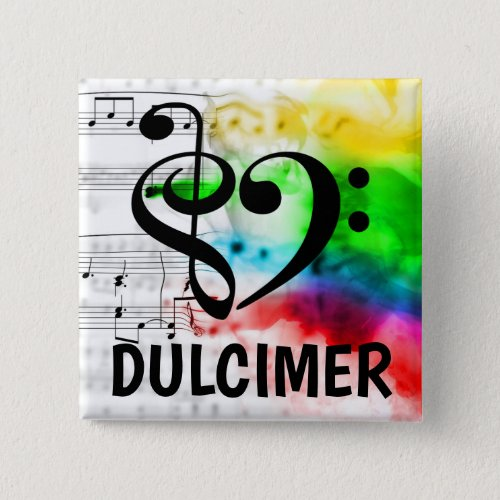 Treble Clef Bass Clef Musical Heart Dulcimer Music Lover 2-inch Square Button
