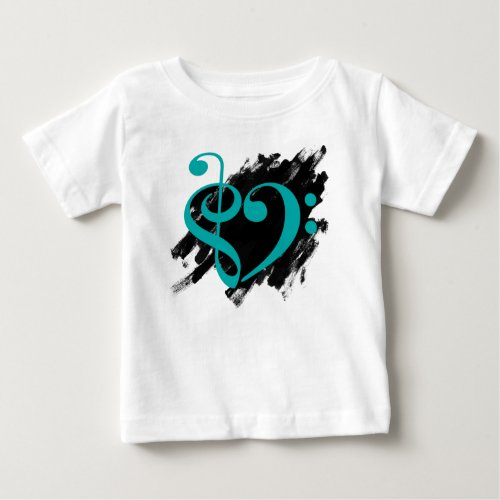 Treble Clef Bass Clef Turquoise Heart Grunge Brush Strokes Music Lover Baby T-Shirt