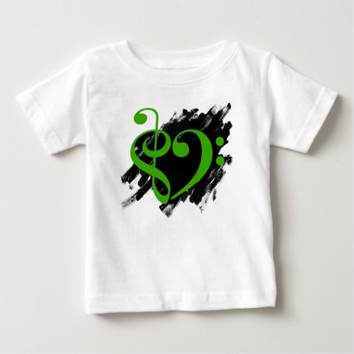 Treble Clef Bass Clef Green Heart Grunge Brush Strokes Music Lover Baby T-Shirt
