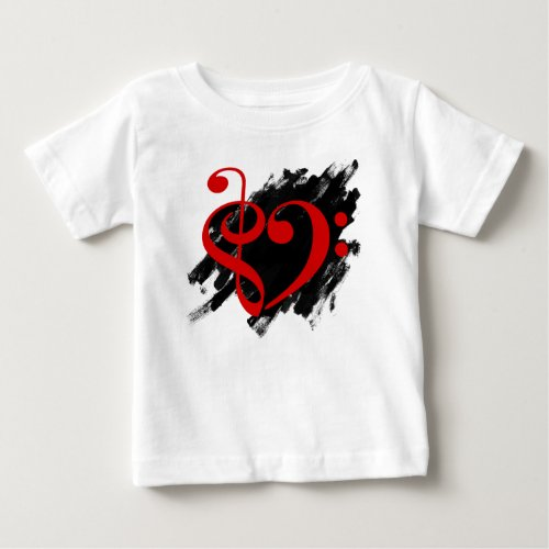 Treble Clef Bass Clef Red Heart Grunge Brush Strokes Music Lover Baby T-Shirt