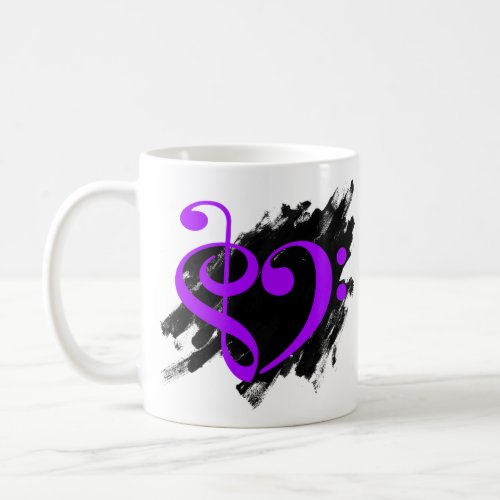 Treble Clef Bass Clef Purple Musical Heart Grunge Bassist Coffee Mug