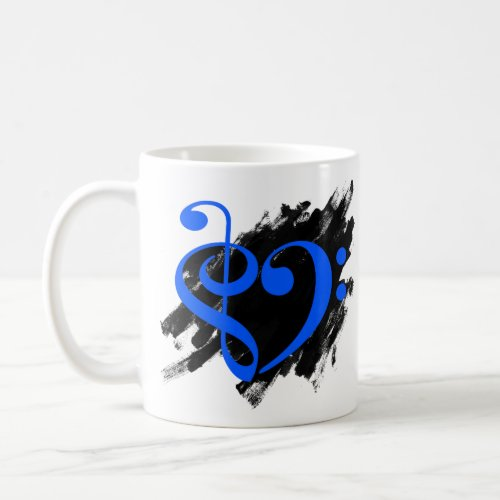 Treble Clef Bass Clef Royal Blue Musical Heart Grunge Bassist Coffee Mug