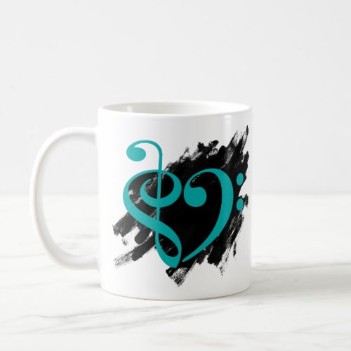 Treble Clef Bass Clef Turquoise Musical Heart Grunge Bassist Coffee Mug