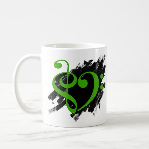Treble Clef Bass Clef Kelly Green Musical Heart Grunge Bassist Coffee Mug
