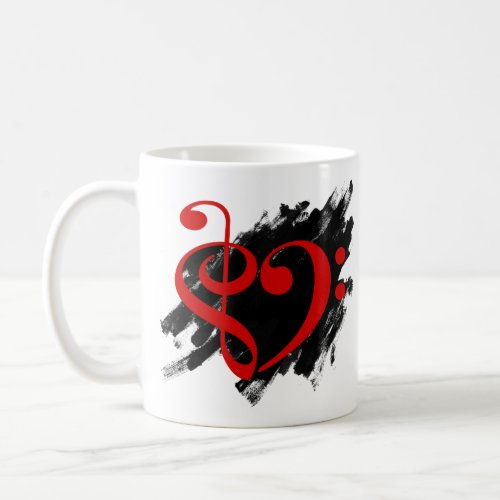 Treble Clef Bass Clef Red Musical Heart Grunge Bassist Coffee Mug