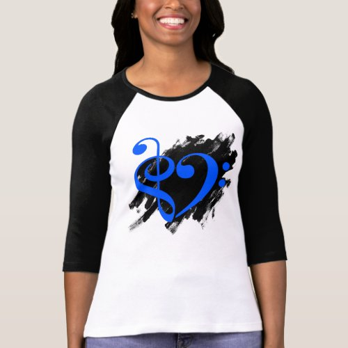 Treble Clef Bass Clef Blue Heart Grunge Brush Strokes Music Lover Bassist T-Shirt