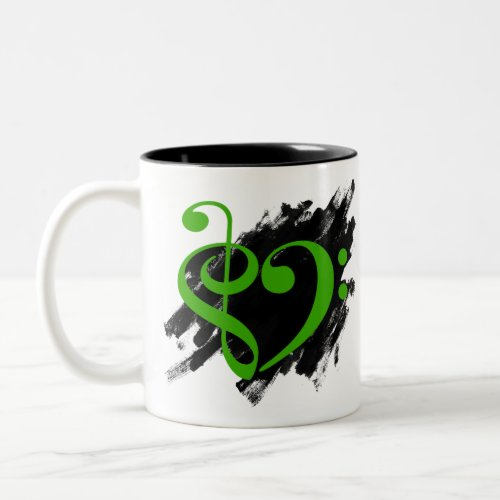 Treble Clef Bass Clef Kelly Green Musical Heart Grunge Bassist Two-Tone Coffee Mug