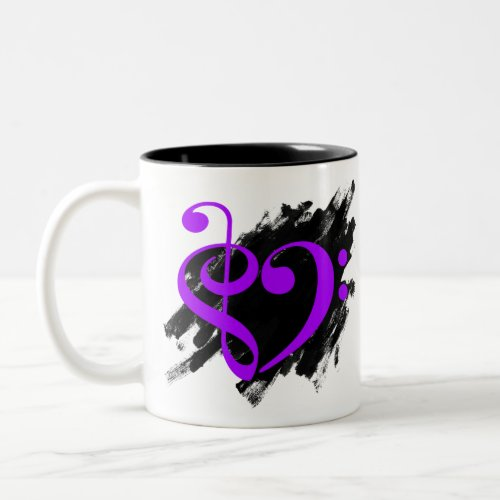 Treble Clef Bass Clef Purple Musical Heart Grunge Bassist Two-Tone Coffee Mug
