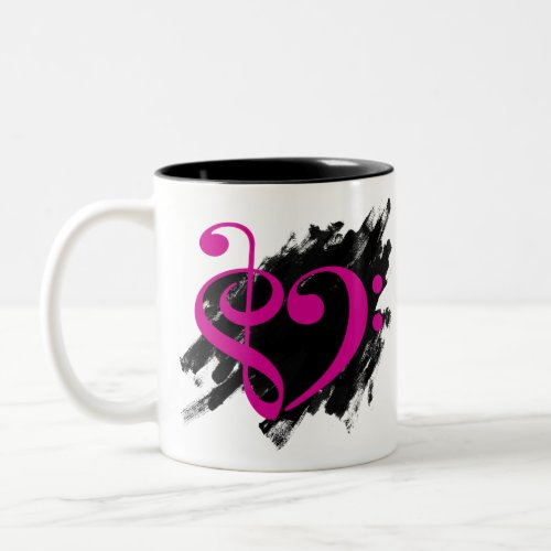 Treble Clef Bass Clef Fuchsia Musical Heart Grunge Bassist Two-Tone Coffee Mug